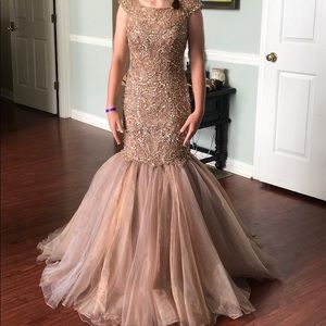 Sherri Hill Dark Nude Beaded Pageant Prom Dress
